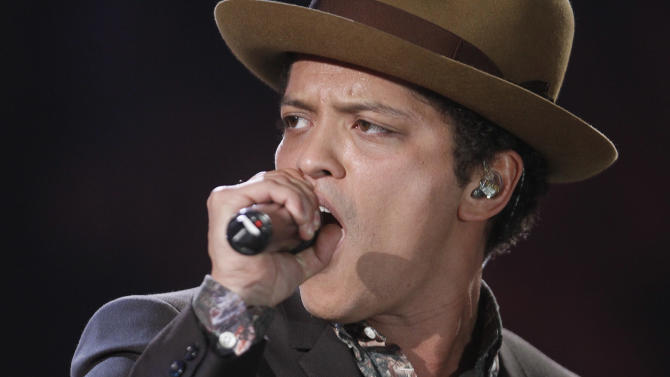 Singer Bruno Mars performs during the Victoria's Secret Fashion Show in New York