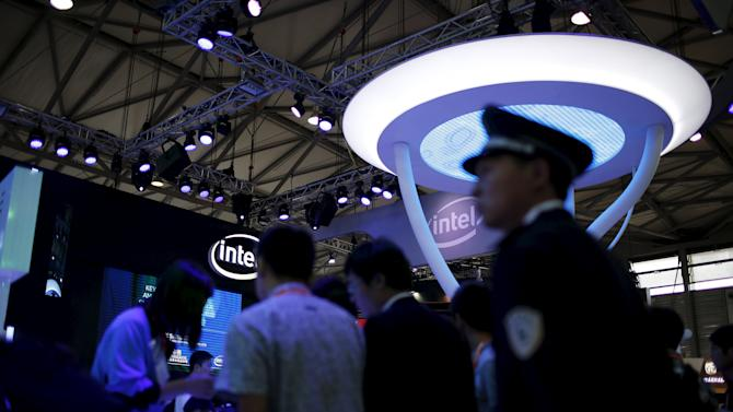 Attendees visit the Intel exhibition stage during the 2015 International Consumer Electronics Show Asia in Shanghai
