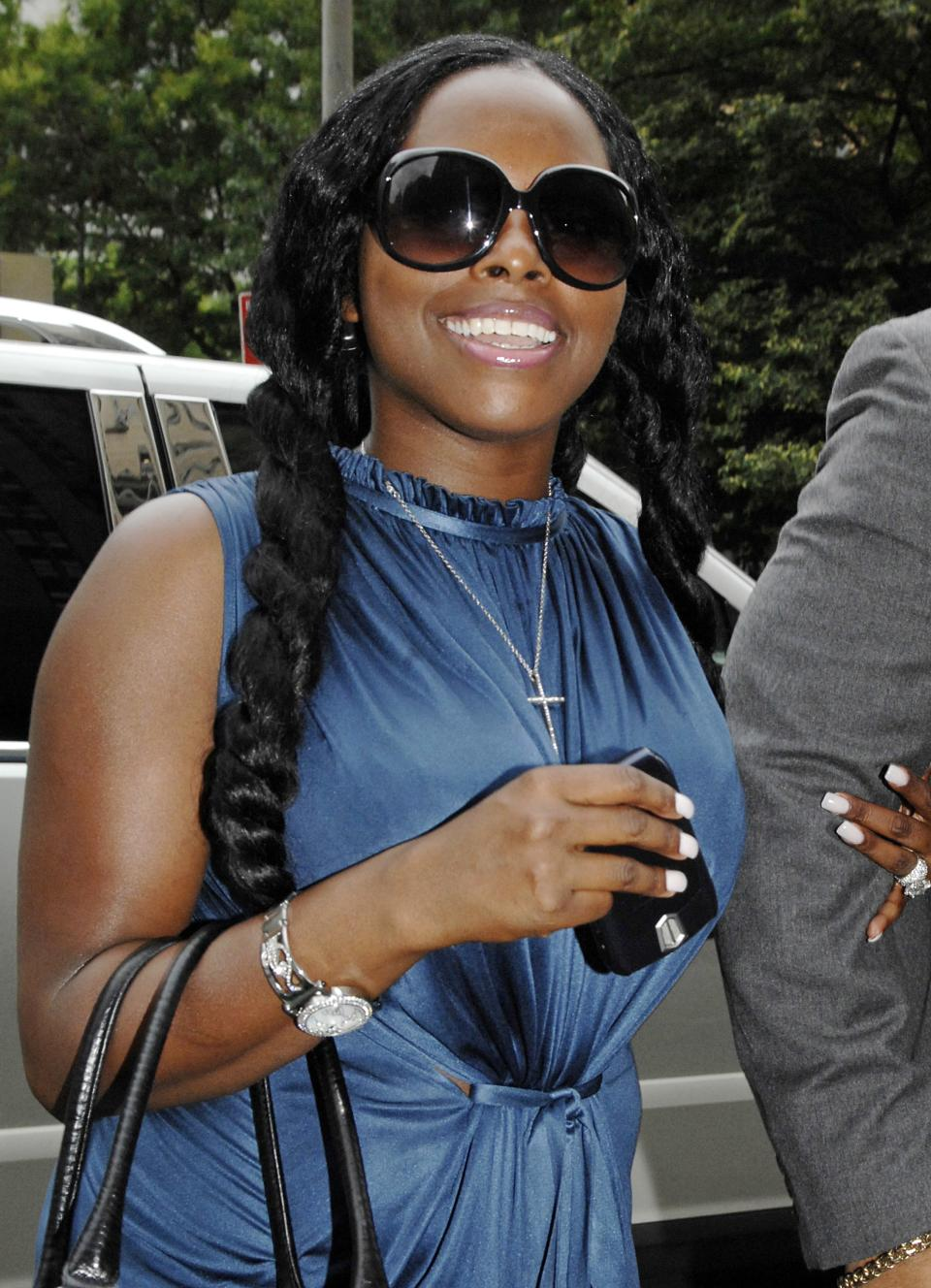 FILE - In this Aug, 22, 2007 file photo, Foxy Brown, whose birth name is Inga Marchand, enters Manhattan criminal court, in New York.  Brown is due in court Tuesday July 12, 2011 on charges she violated a court order by mooning her neighbor.   (AP Photo/ Louis Lanzano/file)