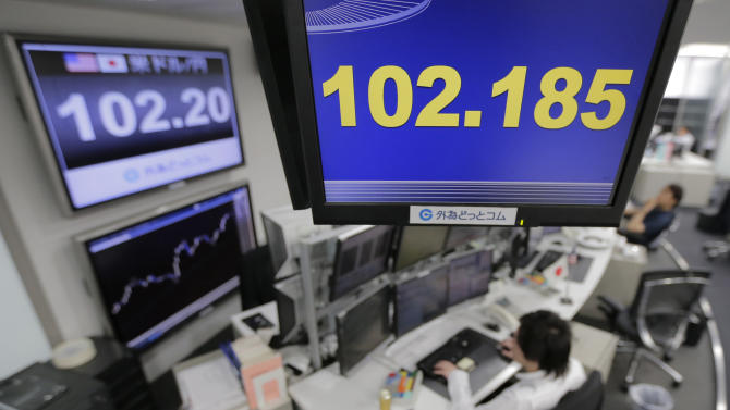 Money traders work under screens indicating the U.S. dollar rate against the Japanese yen at a foreign exchange company in Tokyo, Wednesday, May 15, 2013. The dollar was trading 102 yen level as enthusiasm on Wall Street sparked by another positive report on the U.S. economy helped push most Asian stock markets higher Wednesday. (AP Photo/Itsuo Inouye)