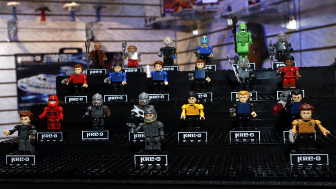 """Star Trek KREON"" action figures, featuring characters from the anticipated film ""Star Trek Into Darkness,"" are displayed in Hasbro's showroom at the American International Toy Fair, Saturday, Feb. 9, 2013, in New York. (Photo by Jason DeCrow/Invision for Hasbro/AP Images)"