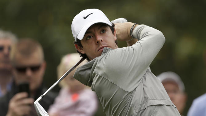 Rory McIlroy, of Northern Ireland, tees off on the sixth hole during the pro-am of the Wells Fargo Championship golf tournament at Quail Hollow Club in Charlotte, N.C., Wednesday, May 1, 2013. (AP Photo/Chuck Burton)