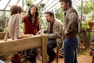 "This film image released by Disney shows, from left, Cameron ""CJ"" Adams, Jennifer Garner, Lin-Manuel Miranda, Joel Edgerton in a scene from ""The Odd Life Of Timothy Green."" (AP Photo/Disney, Phil Bray)"