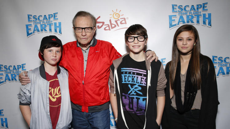 "Larry King and guests attend the LA premiere of ""Escape from Planet Earth"" at the Chinese Theater on Saturday, Feb. 2,2013 in Hollywood. (Photo by Todd Williamson/Invision/AP Images)"