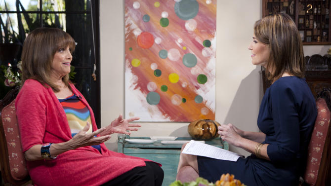 "In this undated photo provided by NBC, Valerie Harper is interview by Savannah Guthrie of NBC's ""Today"" at Harper's home in Los Angeles. In her first TV interview since disclosing her diagnosis last week, the 1970s sitcom star tells Guthrie that ""'incurable' is a tough word."" It is scheduled to air on Monday, March 12, 2013. (AP Photo/NBC)"