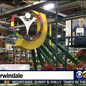 Preparations Continued For Rose Parade Floats