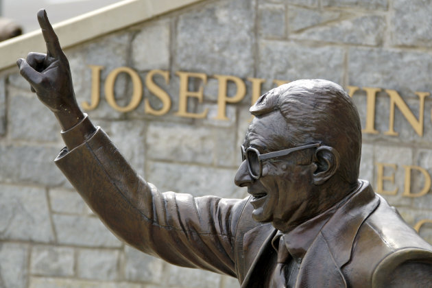 The statue of former Penn State University head football coach Joe Paterno stands outside Beaver Stadium in State College, Pa., Friday, July 13, 2012. After an eight-month inquiry, former FBI director Louis Freeh's firm produced a 267-page report that concluded that Paterno and other top Penn State officials hushed up child sex abuse allegations against former Penn State assistant football coach Jerry Sandusky for more than a decade for fear of bad publicity, allowing Sandusky to prey on other youngsters. The revelations contained in the report have stirred a debate over whether the statue should remain. (AP Photo/Gene J. Puskar)
