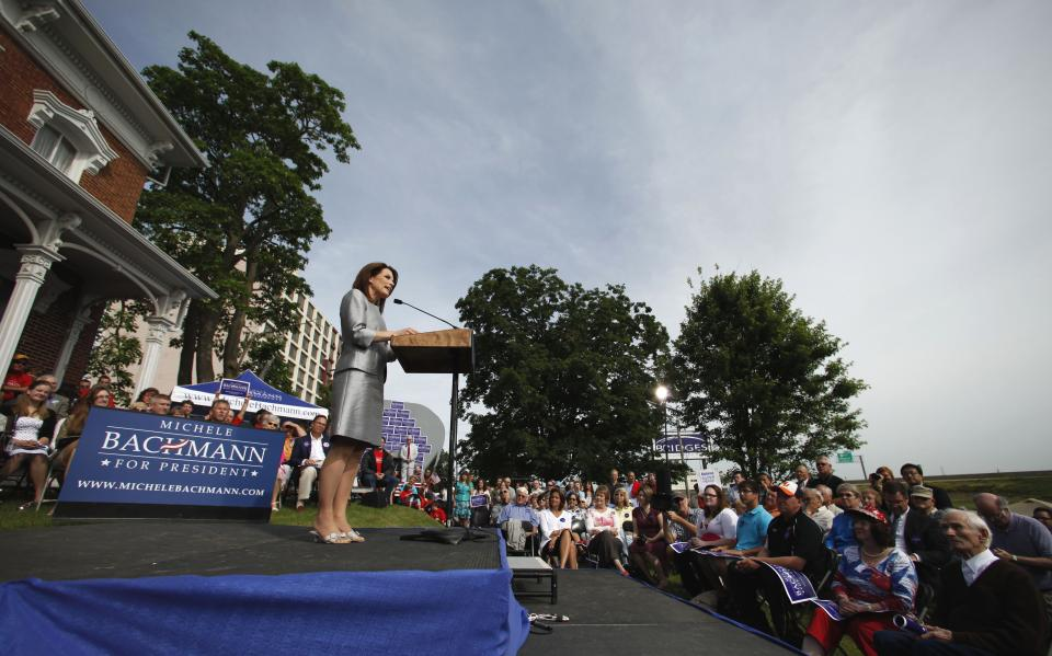 Rep. Michele Bachmann, R-Minn., makes her formal announcement to seek the 2012 Republican presidential nomination, Monday, June 27, 2011, in Waterloo, Iowa. Bachmann, who was born in Waterloo, will continue her announcement tour this week with stops in New Hampshire and South Carolina. (AP Photo/Charlie Riedel)