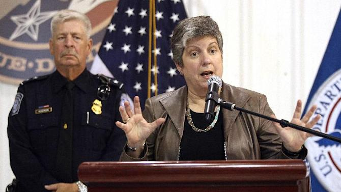 U.S. Secretary of Homeland Security Janet Napolitano speaks in the U.S. Customs and Border Protection Office of Air and Marine hangar in El Paso, Texas, on immigration and border security. Napolitano says Republican lawmakers' insistence that the border be secured before there is immigration reform is a flawed argument. (AP Photo/The El Paso Times, Mark Lambie)