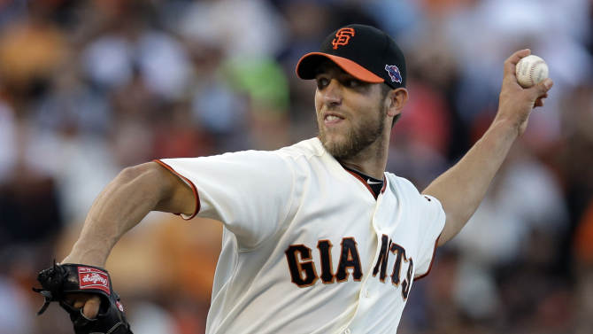 San Francisco Giants starting pitcher Madison Bumgarner throws during the first inning of Game 1 of baseball's National League championship series against the St. Louis Cardinals Sunday, Oct. 14, 2012, in San Francisco. (AP Photo/David J. Phillip)