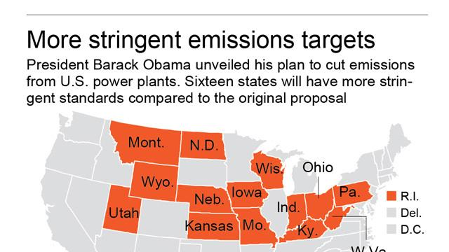 Graphic shows a state-by-state look at proposed emissions standards.; 1c x 8 inches; 46.5 mm x 203 mm;