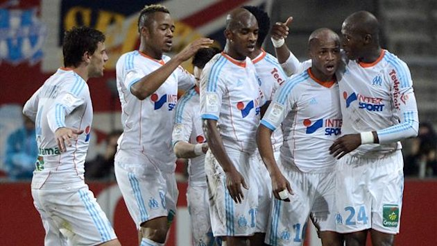 Marseille&#39;s Andre Ayew celebrates (AFP)