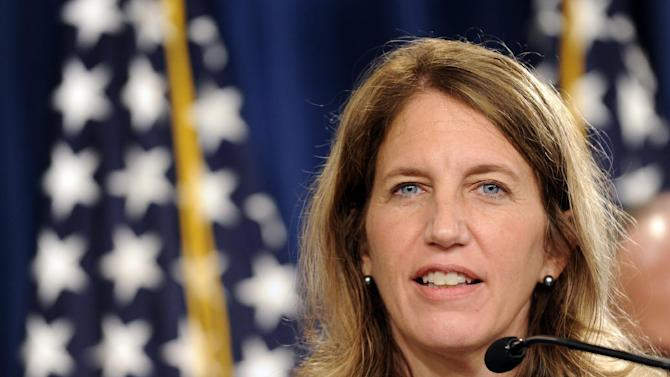 Health and Human Services Secretary Sylvia Burwell speaks at a news conference at the Treasury Department in Washington, Monday, July 28, 2014, to discuss the release of the annual Trustees Reports. (AP Photo/Susan Walsh)