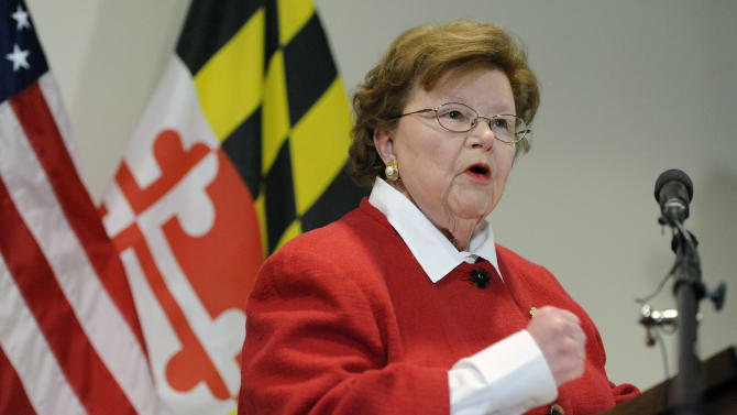 Sen. Barbara Mikulski (D-Md.), the longest-serving woman in the history of Congress, speaks during a news conference announcing her retirement after her current term, in the Fells Point section of Baltimore, Monday, March 2, 2015. (AP Photo/Steve Ruark)