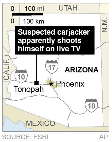 Map shows Tonopah Arizona, where a suspected car-jacker appears to shoot himself on live television.