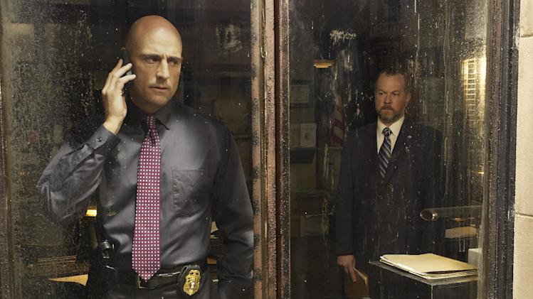"This publicity image released by AMC shows Mark Strong as Frank Agnew, left, and David Costabile as Simon Boyd in a scene from ""Low Winter Sun,"" premiering Aug. 11, 2013. (AP Photo/AMC, Frank Ockenfels)"
