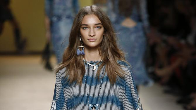 A model presents a creation from the Etro Spring/Summer 2015 collection during Milan Fashion week
