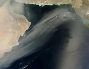 NASA space image of Arabian Peninsula sandstorm