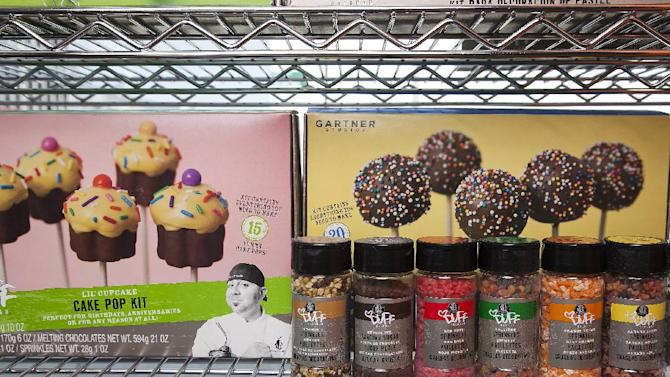 This image taken on Wednesday, June 20, 2012, shows cake mix products by Duff Goldman, chef and owner of Charm City Cakes West, displayed at his new venture, Duff's Cakemix, in Los Angeles. (AP Photo/Damian Dovarganes)