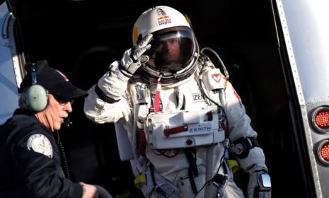 Felix Baumgartner on his way to his space capsule during a test flight on March 15.