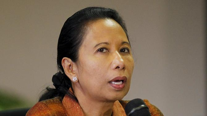 Indonesian state-owned enterprises minister Rini Soemarno speaks during a news conference in Jakarta