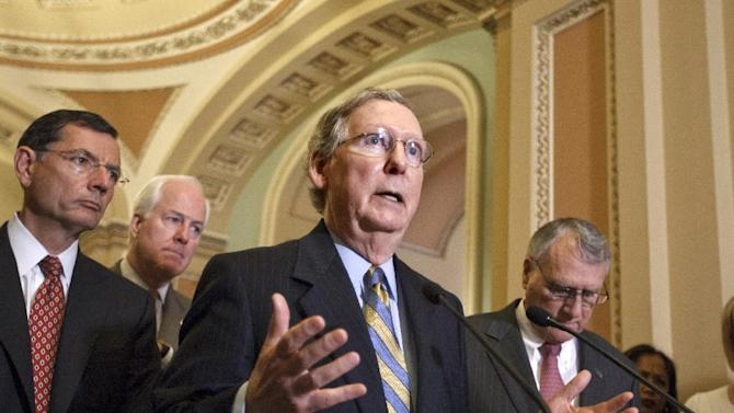 In this July 24, 2012, photo, Senate Minority Leader Mitch McConnell of Ky., gestures during a news conference on Capitol Hill in Washington, following a political strategy session, as from back left, Sen. John Barrasso, R-Wyo., Sen. John Cornyn, R-Texas, and Senate Minority Whip Jon Kyl of Ariz., listen. The Senate is bracing for a tax-cut showdown that is all about Democrats and Republicans showing voters their differences over taxing the well-off while accusing each other of threatening to shove the government over a fiscal cliff. Senators planned to vote Wednesday, July 25 on a $250 billion Democratic bill that would extend expiring tax cuts next year for all but the highest earners. Republicans were forcing Reid to corral 60 votes for the proposal, which he does not have.  (AP Photo/J. Scott Applewhite)