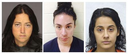 A combination image of booking photos show teachers convicted of sexual assaults