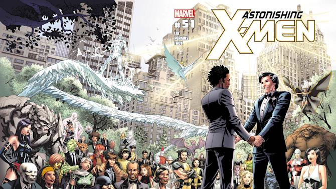 "This comic book cover image released by Marvel shows ""Astonishing X-Men,"" No 51. Marvel Comics said Tuesday, May 22, 2012 that the Canadian character named Jean-Paul Beaubier, right, will marry his beau, Kyle Jinadu, in this edition due out June 20. (AP Photo/Marvel Comics)"