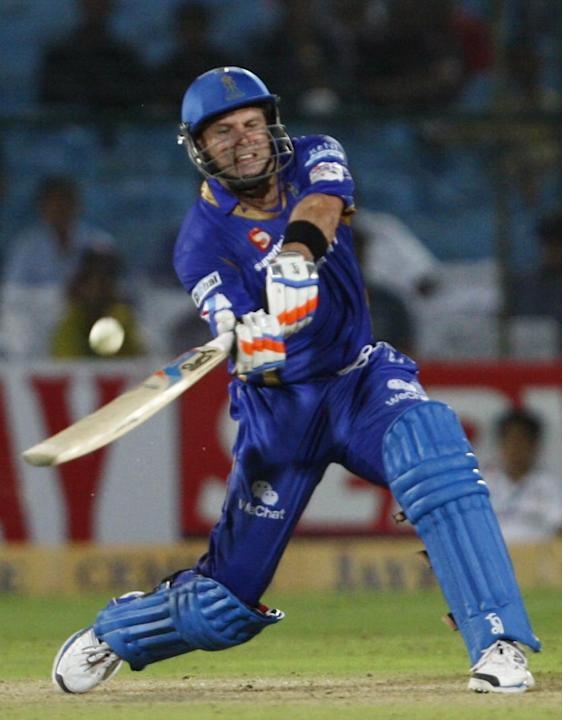 Rajasthan Royals batsman Brad Hodge in action during the match between Rajasthan Royals and Lions at Sawai Mansingh Stadium, Jaipur on Sept. 25, 2013. (Photo: IANS)