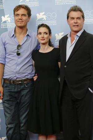 Actors Michael Shannon, Winona Ryder and Ray Liotta pose at the photo call for the movie 'The Iceman' at the 69th edition of the Venice Film Festival in Venice, Italy, Thursday, Aug. 30, 2012. (AP Photo/Andrew Medichini)