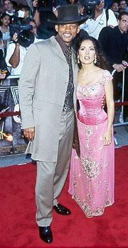 The Fresh Prince and Salma Hayek cuddle for the crowd at the LA premiere for Wild Wild West Photo by Jeff Vespa