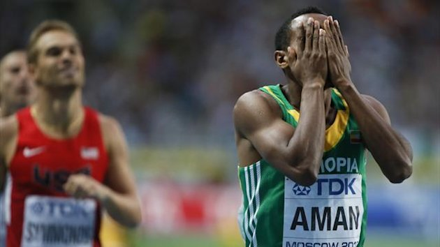Mohammed Aman celebrates winning world 800m gold (Reuters)