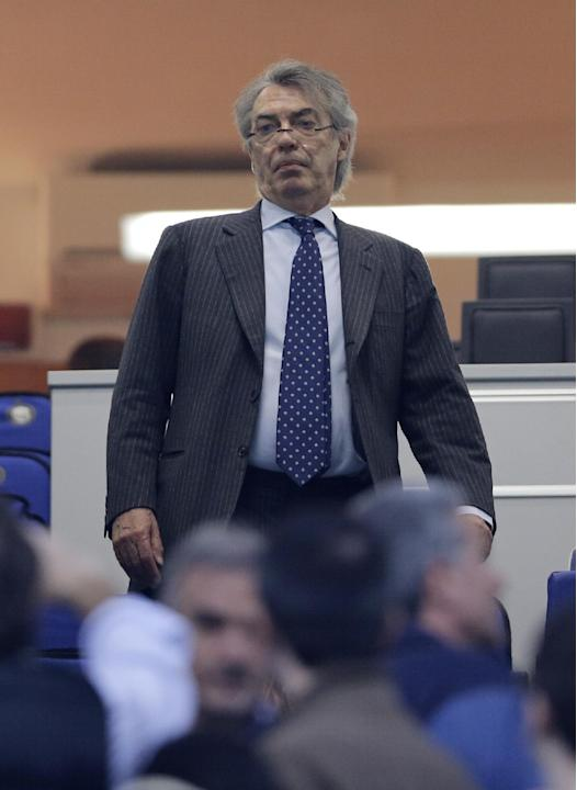 In this photo taken on April 17 2013, Inter Milan president Massimo Moratti arrives at the San Siro stadium in Milan. Indonesian executive Erick Thohir has signed a deal to take over a majority stake