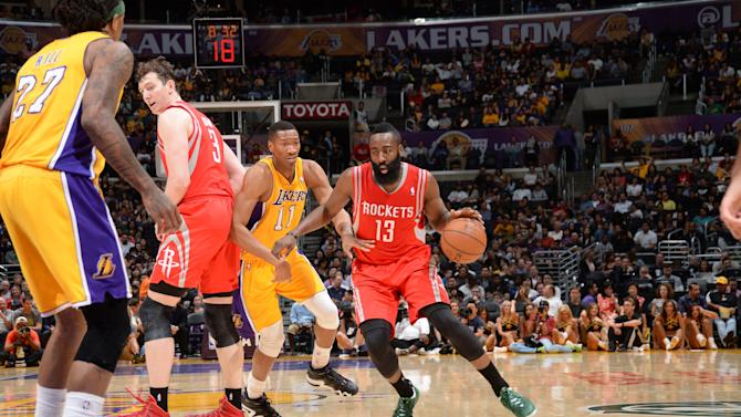 Jones, Harden lead Rockets past Lakers 145-130