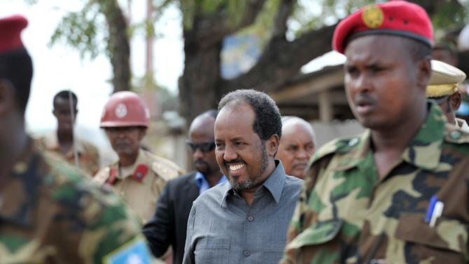 File picture shows Somali president Hassan Sheikh Mohamud in Mogadishu on April 12, 2014