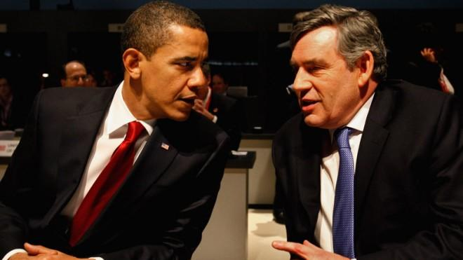 President Obama and then-British Prime Minister Gordon Brown speak at the G20 summit in London in 2009.