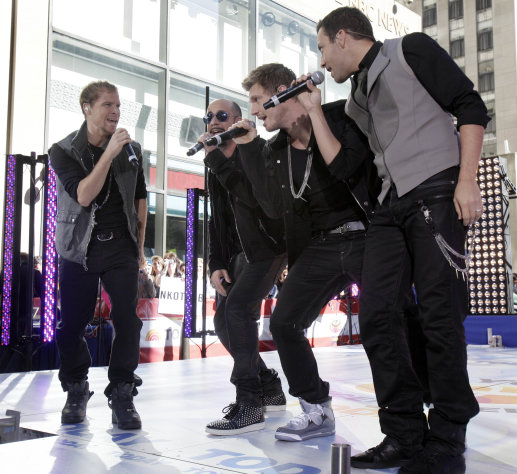"FILE - In a Friday, June 3, 2011 file photo, Backstreet Boys, from left, Brian Littrell, AJ McLean, Nick Carter, and Howie Dorough perform on the NBC ""Today"" television program in New York. ABC's ""Good Morning America"" will host Kevin Richardson's reunion performance with The Backstreet Boys. The quartet will appear on the morning show's summer concert series on Aug. 31 in Central Park. (AP Photo/Richard Drew, File)"