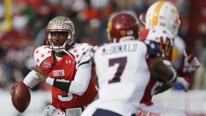 Senior Bowl South Squad quarterback EJ Manuel of Florida State (3) looks for a receiver as North Squad  defensive back TJ McDonald of USC (7) guards South Squad tight end Mychal Rivera of Tennessee (81) in the first half of the Senior Bowl college football game at Ladd-Peebles Stadium in Mobile, Ala., Saturday, Jan. 26, 2013. (AP Photo/Dave Martin)