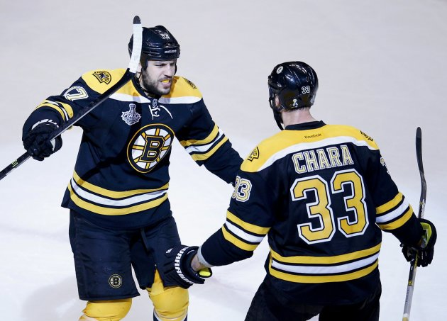 Bruins' Lucic celebrates his goal on the Blackhawks with teammate Chara during the second period in Game 4 of their NHL Stanley Cup Finals hockey series in Boston