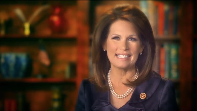 """This image taken from michelebachmann.com, shows Congresswoman Michele Bachmann making a video announcement on her website. Bachmann, the staunchly conservative ex-presidential candidate who once called Barack Obama """"anti-American,"""" said Wednesday, May 29, 2013 she will not seek re-election in the House of Representatives. Bachmann, whose penchant for provocative rhetoric made her a favorite among the conservative tea party movement, said in a video on her website that her decision not to run in 2014 had nothing to do with concerns about being re-elected. She also said recent inquiries into her 2012 presidential campaign finances did not affect her decision. (AP Photo/michelebachmann.com)"""
