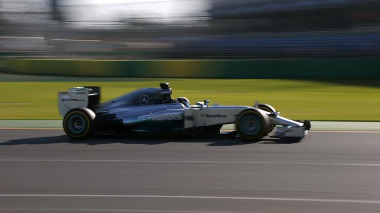 Mercedes Formula One driver Hamilton of Britain drives during the second practice session of the Australian F1 Grand Prix in Melbourne