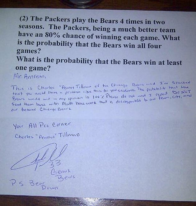 > Bears and Packers fans answer this math teacher's question (pic) - Photo posted in BX SportsCenter | Sign in and leave a comment below!
