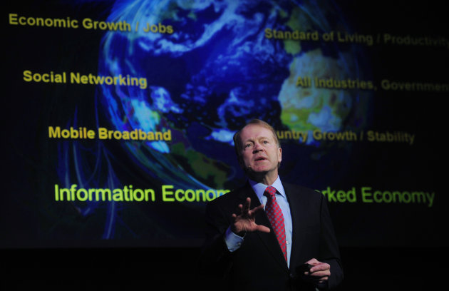 FILE - In this Feb. 16, 2011 file photo, Cisco Chairman & CEO John Chambers speaks during a conference at the Mobile World congress in Barcelona, Spain. Chambers on Wednesday, June 20, 2012 announced
