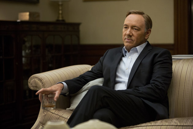 This image released by Netflix shows Kevin Spacey in a scene from the Netflix original series, &quot;House of Cards,&quot; an adaptation of a British classic. (AP Photo/Netflix, Melinda Sue Gordon)