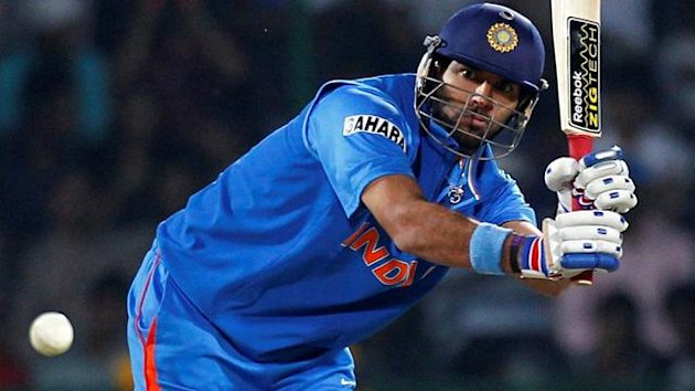 India&#39;s Yuvraj Singh hits a shot during their ICC Cricket World Cup group B match against The Netherlands in New Delhi March 9, 2011.