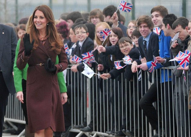 Britain's Catherine, Duchess of Cambridge arrives at Havelock Academy in Grimsby