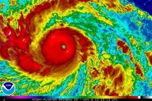 Typhoon Haiyan is pictured in this NOAA satellite handout…