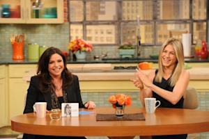 """Jennifer Aniston makes an appearance on the """"Rachael Ray Show,"""" Feb. 16, 2011 -- Rachael Ray/David M. Russell"""