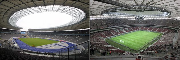 File photos of Olympic stadium in Berlin and National Stadium in Warsaw