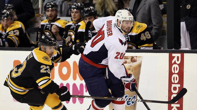 Troy Brouwer #20 Of The Washington Capitals Tries To Keep The Puck From Chris Kelly #23 Of The Boston Bruins In Game Getty Images